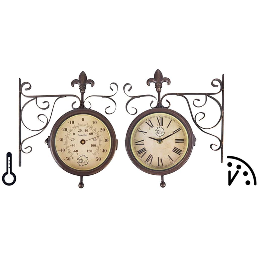 acheter horloge de gare avec thermom tre esschert design. Black Bedroom Furniture Sets. Home Design Ideas