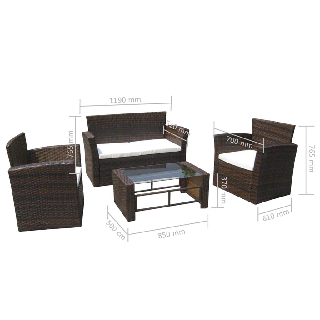der poly rattan lounge gartenm bel set braun online shop. Black Bedroom Furniture Sets. Home Design Ideas