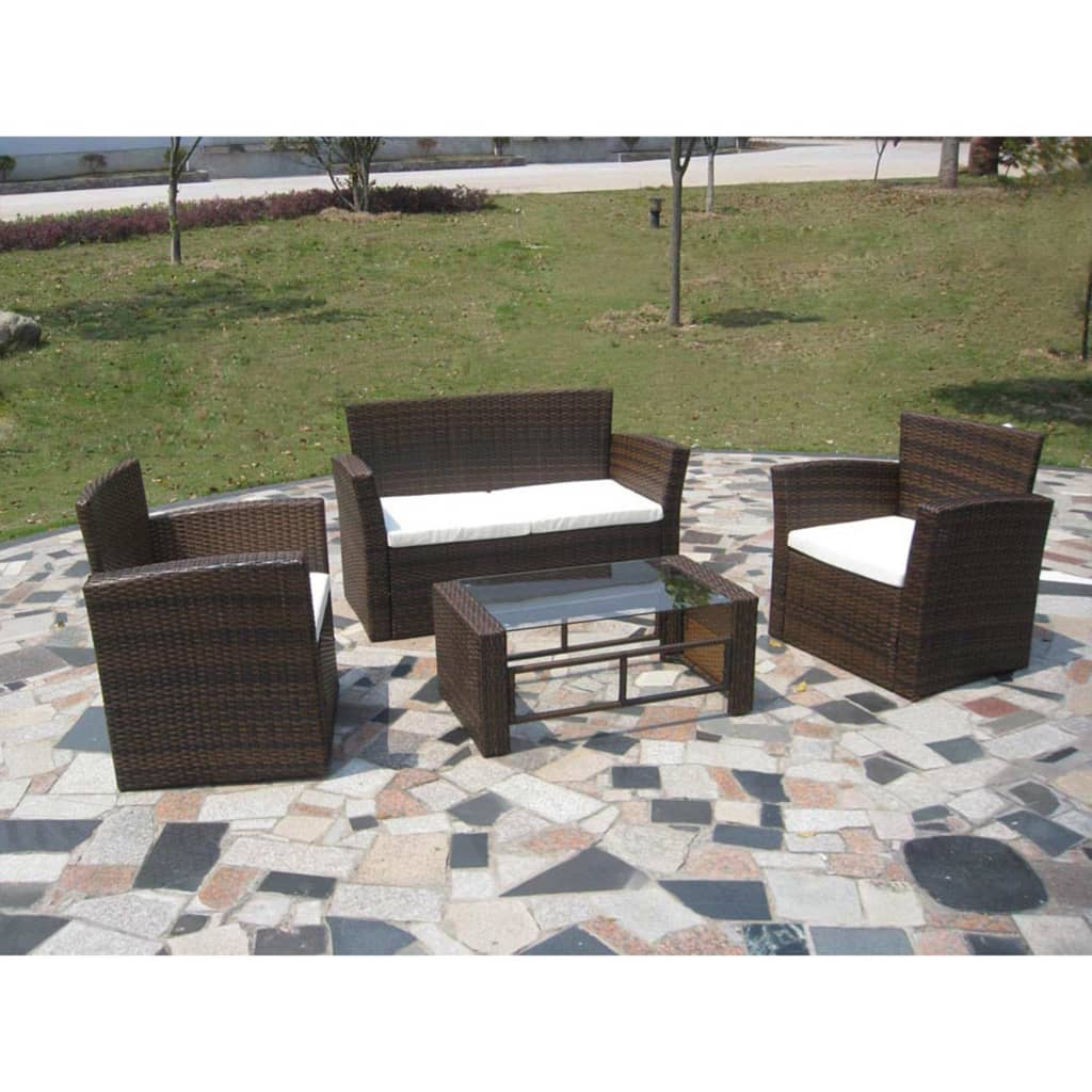 der poly rattan lounge gartenm bel set braun online shop. Black Bedroom Furniture Sets. Home Design Ideas