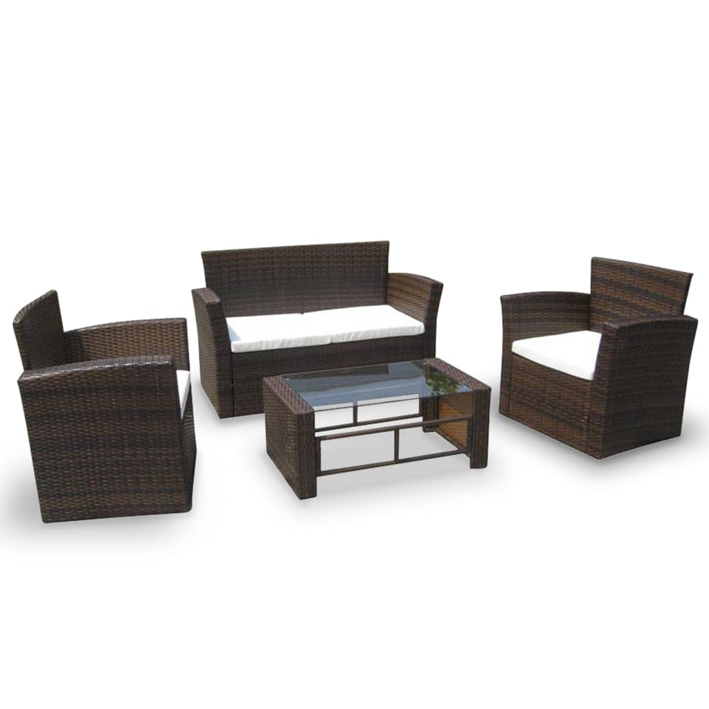 Loungeset Poly Rattan i konstrotting Merano 4-set brun