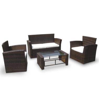 Poly Rattan Lounge Gartenmöbel Set braun[1/4]