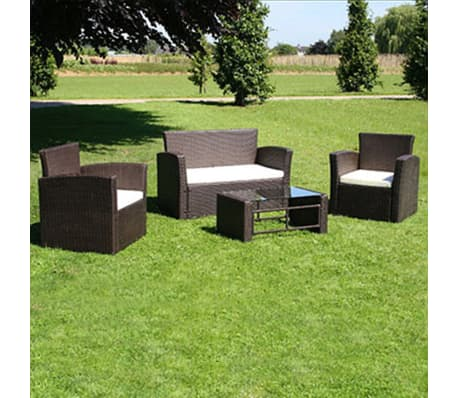 Poly Rattan Lounge Gartenmöbel Set braun