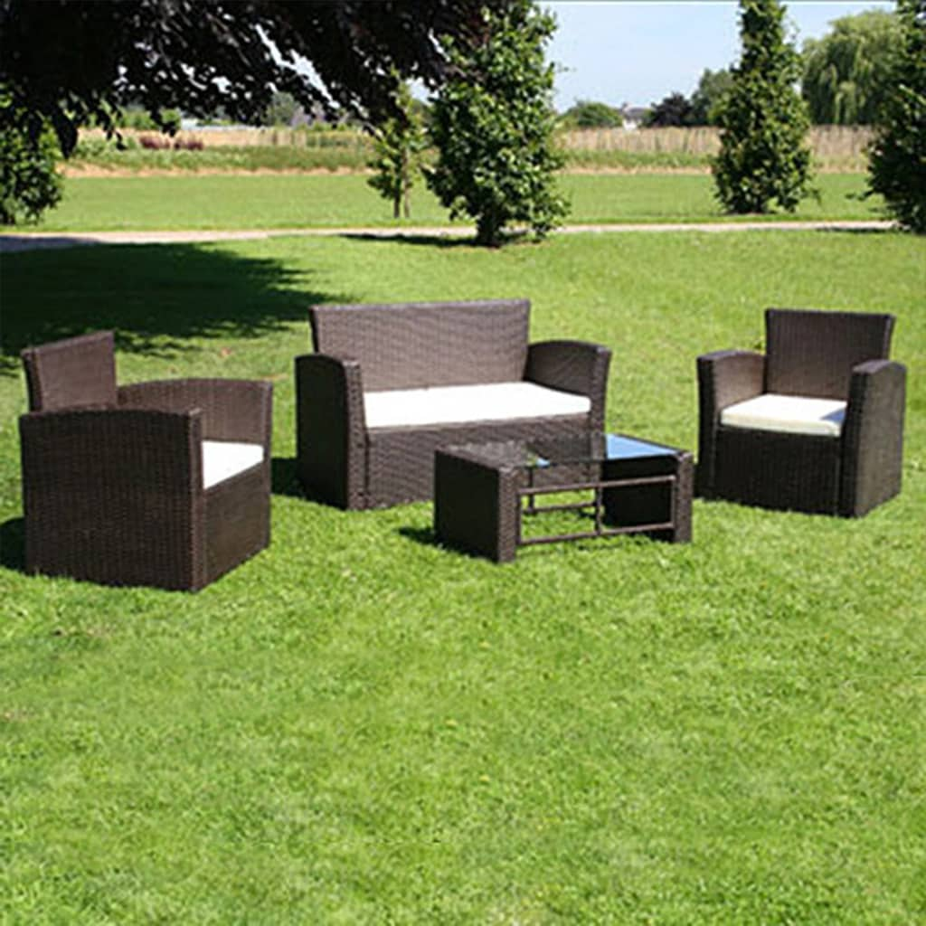 Outdoor-4-pc-Sofa-Lounge-Wicker-Table-Furniture-Set-Rattan-Setting-Chair-Brown