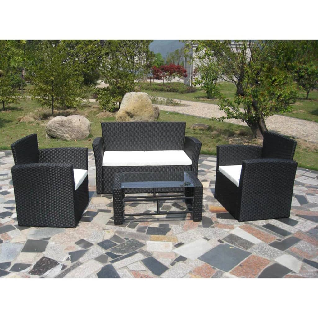 poly rattan lounge gartenm bel set schwarz. Black Bedroom Furniture Sets. Home Design Ideas