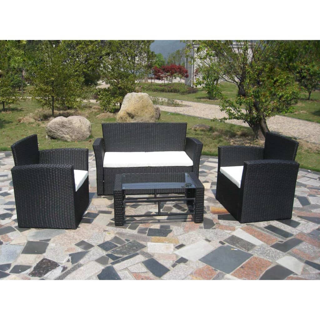 der poly rattan lounge gartenm bel set schwarz online shop. Black Bedroom Furniture Sets. Home Design Ideas