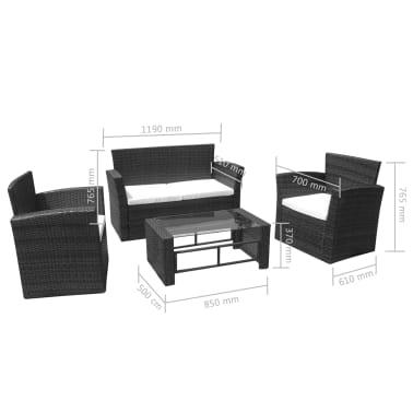 vidaXL Lounge-Set Schwarz Poly Rattan[3/3]