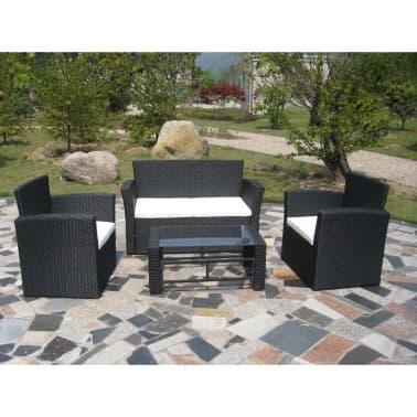 vidaXL Lounge-Set Schwarz Poly Rattan[2/3]