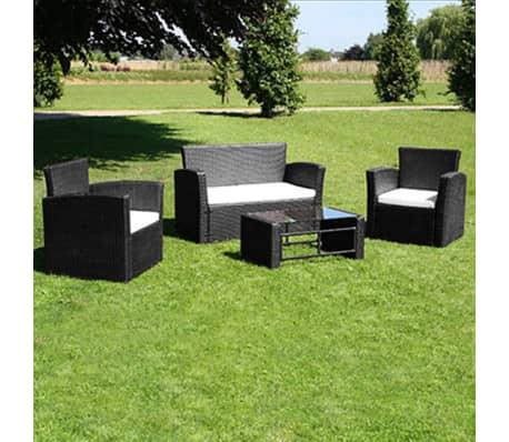 vidaXL Lounge-Set Schwarz Poly Rattan
