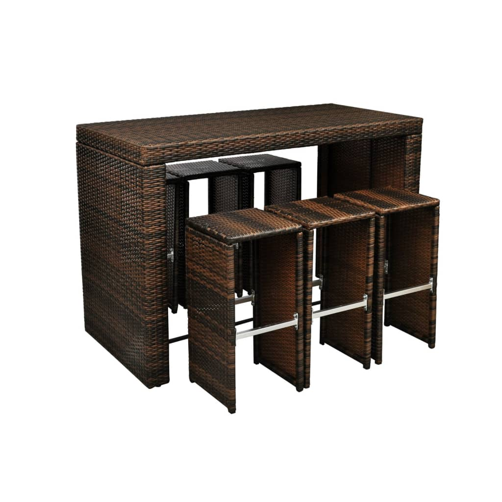 vida-xl-brown-poly-rattan-garden-bar-set