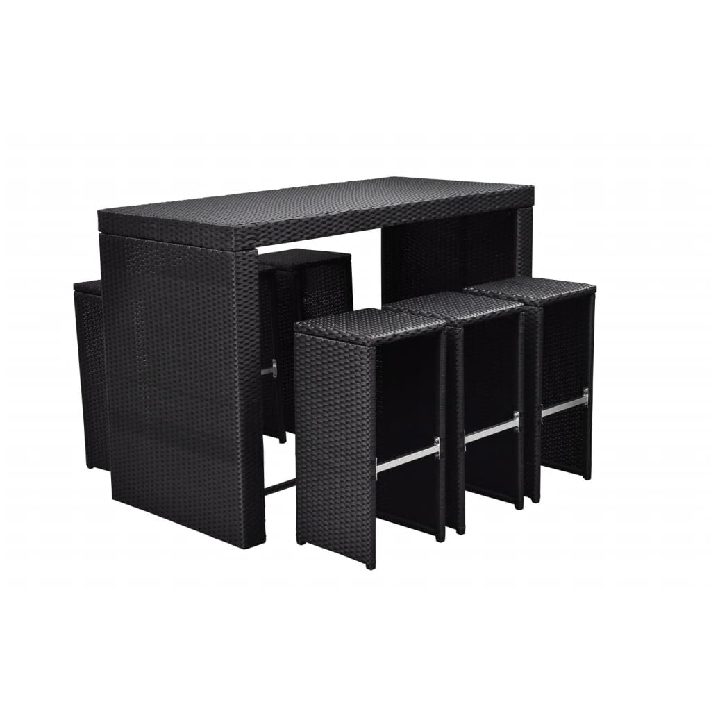 Black Bar Set: VidaXL Black Poly Rattan Garden Bar Set
