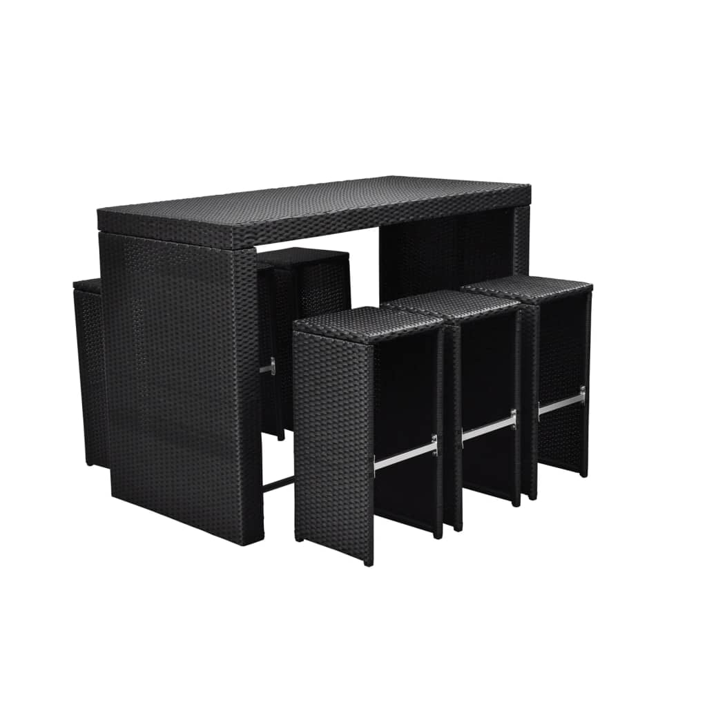 polyrattan barset tisch 6 barhocker rattan bar theke. Black Bedroom Furniture Sets. Home Design Ideas