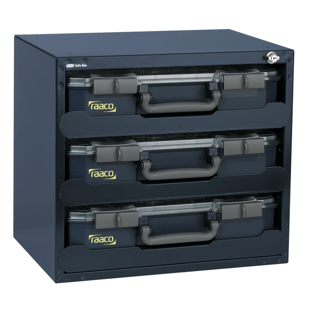 Raaco Safe Box with 3 CarryLite 80 Assortment Boxes 136389