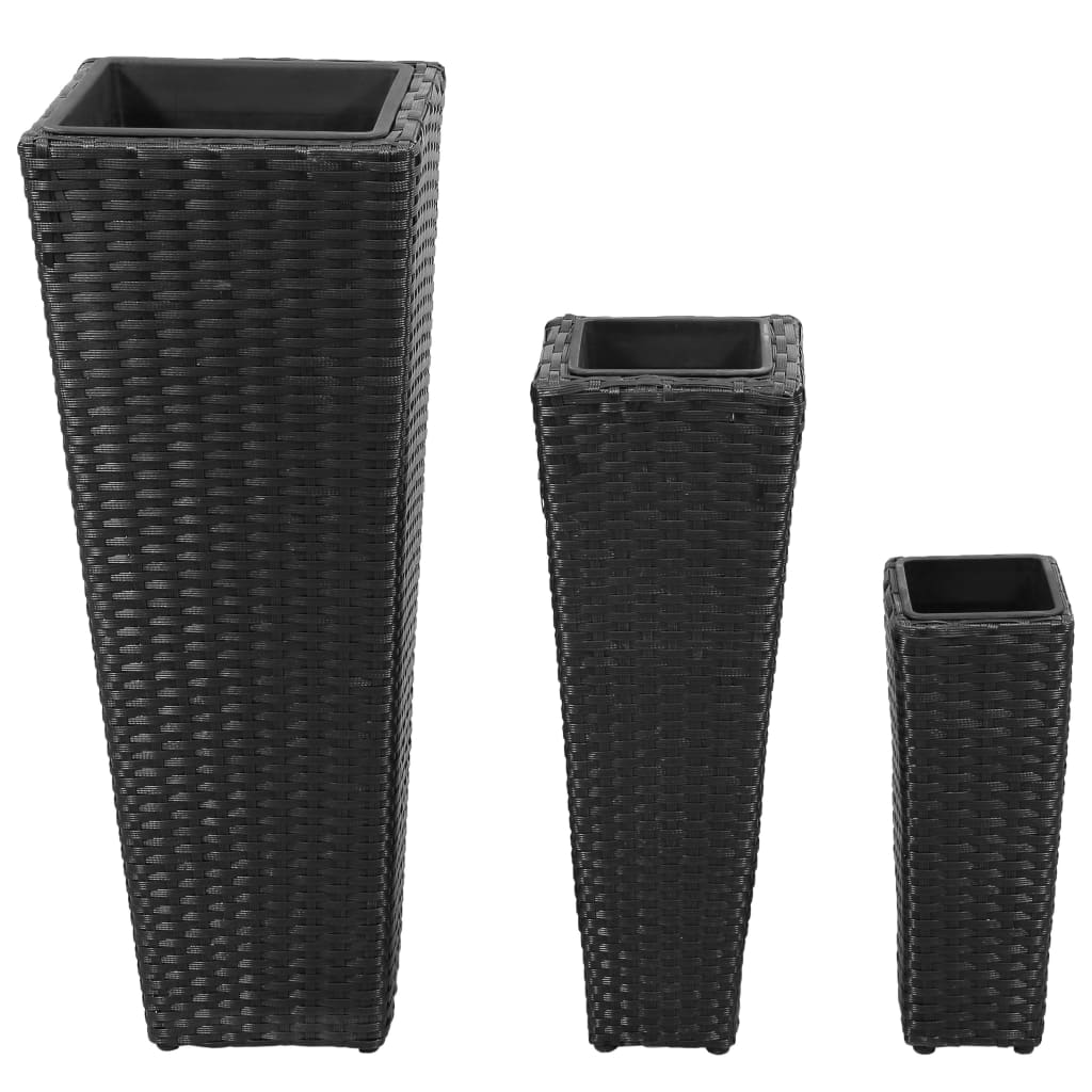 3 rattan flower pots black. Black Bedroom Furniture Sets. Home Design Ideas