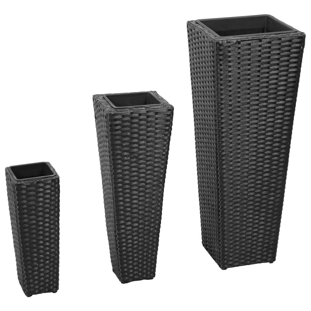 3 rattan flower pots black. Black Bedroom Furniture Sets. Home Design Ideas