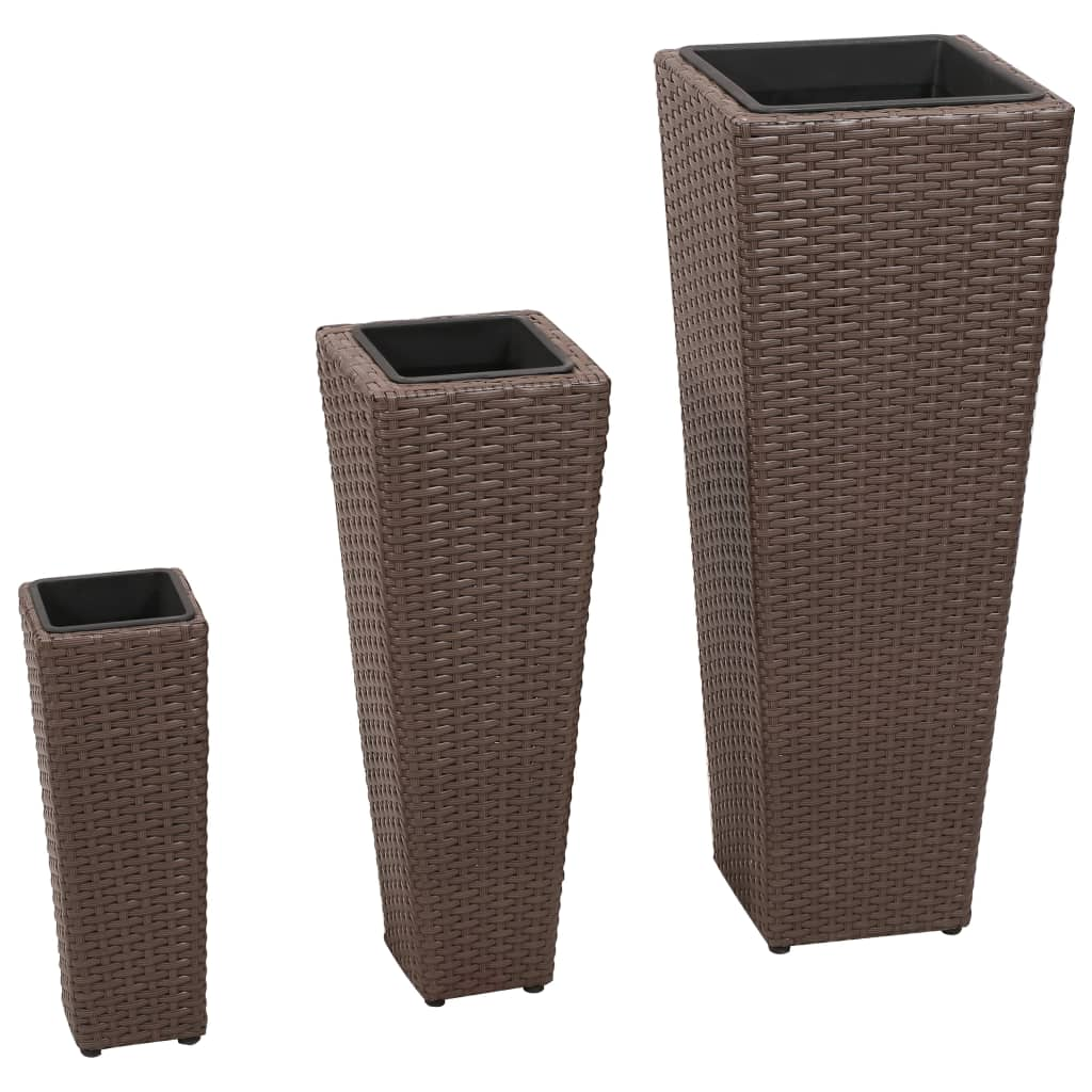 vidaXL 3 Rattan Flower Pots Brown