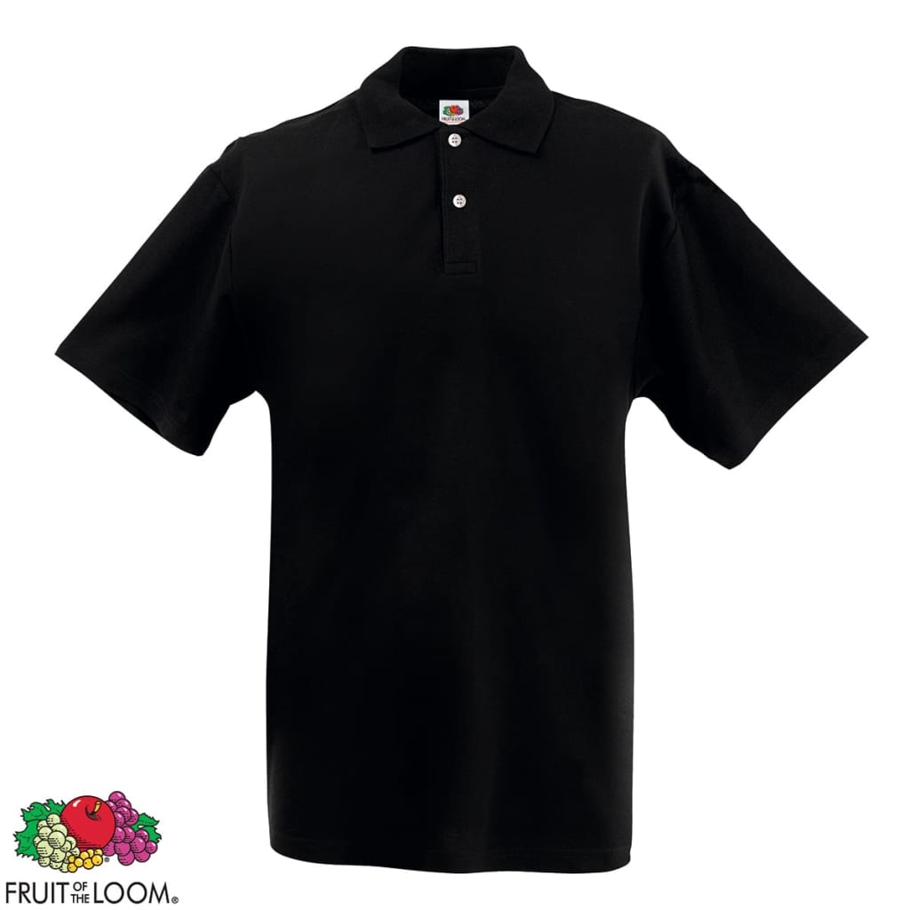 Fruit-of-the-Loom-Camiseta-tipo-polo-negra-talla-S-para-hombres-casual-sueter