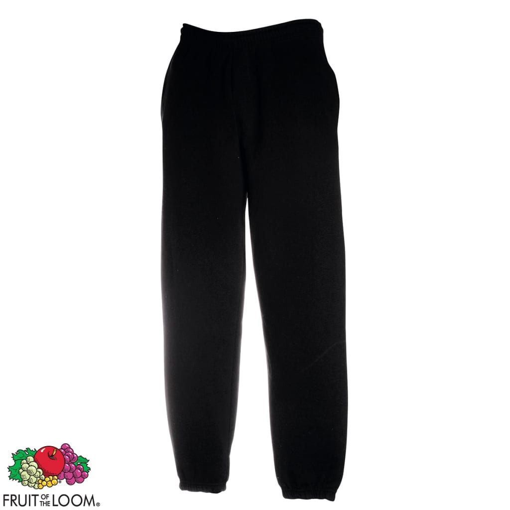 Fruit-of-the-Loom-Pantaloni-Uomo-Sweat-Pants-con-fascia-elastica-neri-L