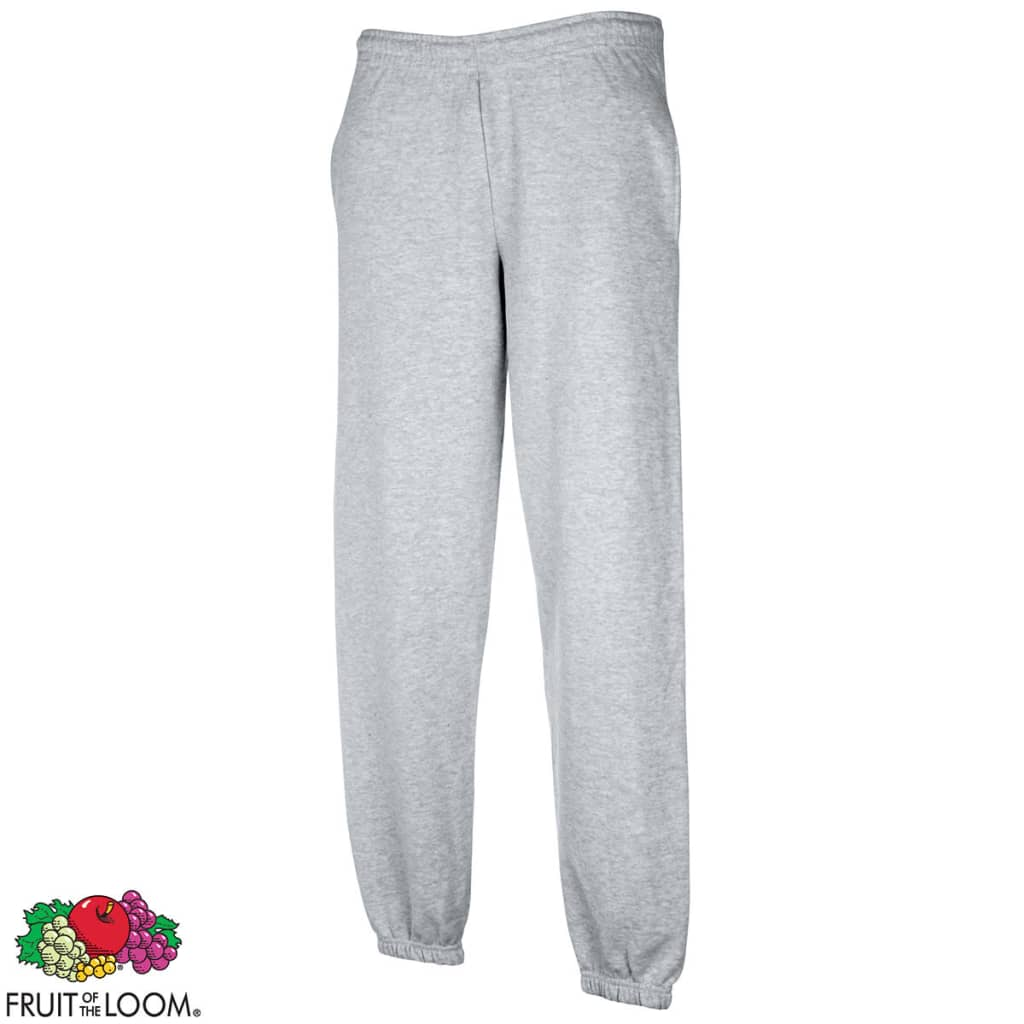 Fruit-of-the-Loom-Pantaloni-Uomo-Sweat-Pants-con-fascia-elastica-grigi-S