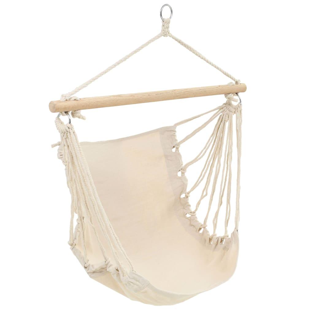 Silla colgante hamaca blanco crema grande tejido tienda for Silla hamaca colgante