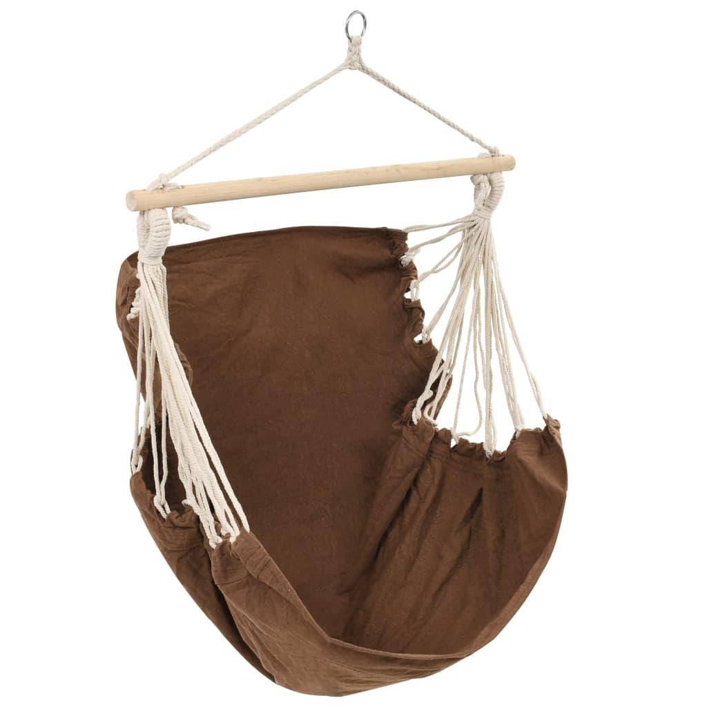 Silla colgante hamaca marr n grande tejido tienda online for Silla hamaca colgante