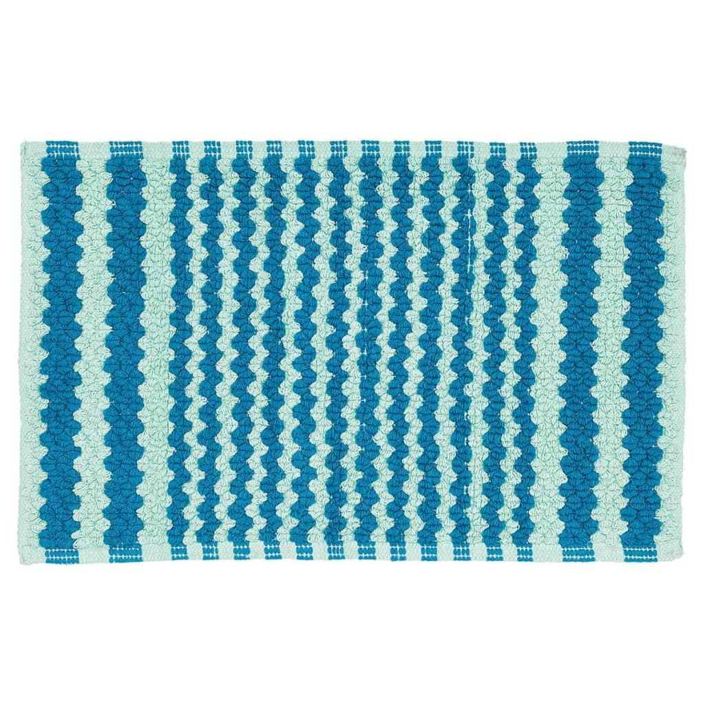 Sealskin Motif Badmat 80x50cm katoen lichtblauw donkerblauw gestreept