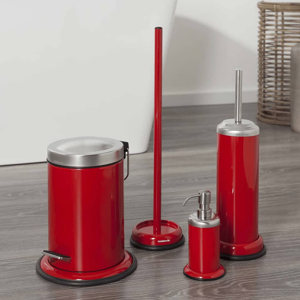 Sealskin toilet brush and holder acero red 361730559 for Design accessoires
