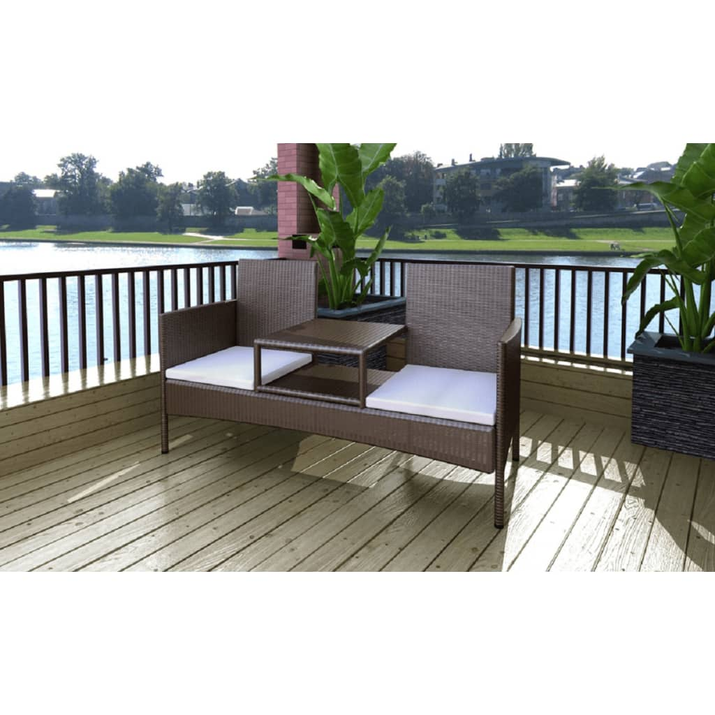 vidaxl braun poly rattan 2 sitzer mit tisch g nstig kaufen. Black Bedroom Furniture Sets. Home Design Ideas