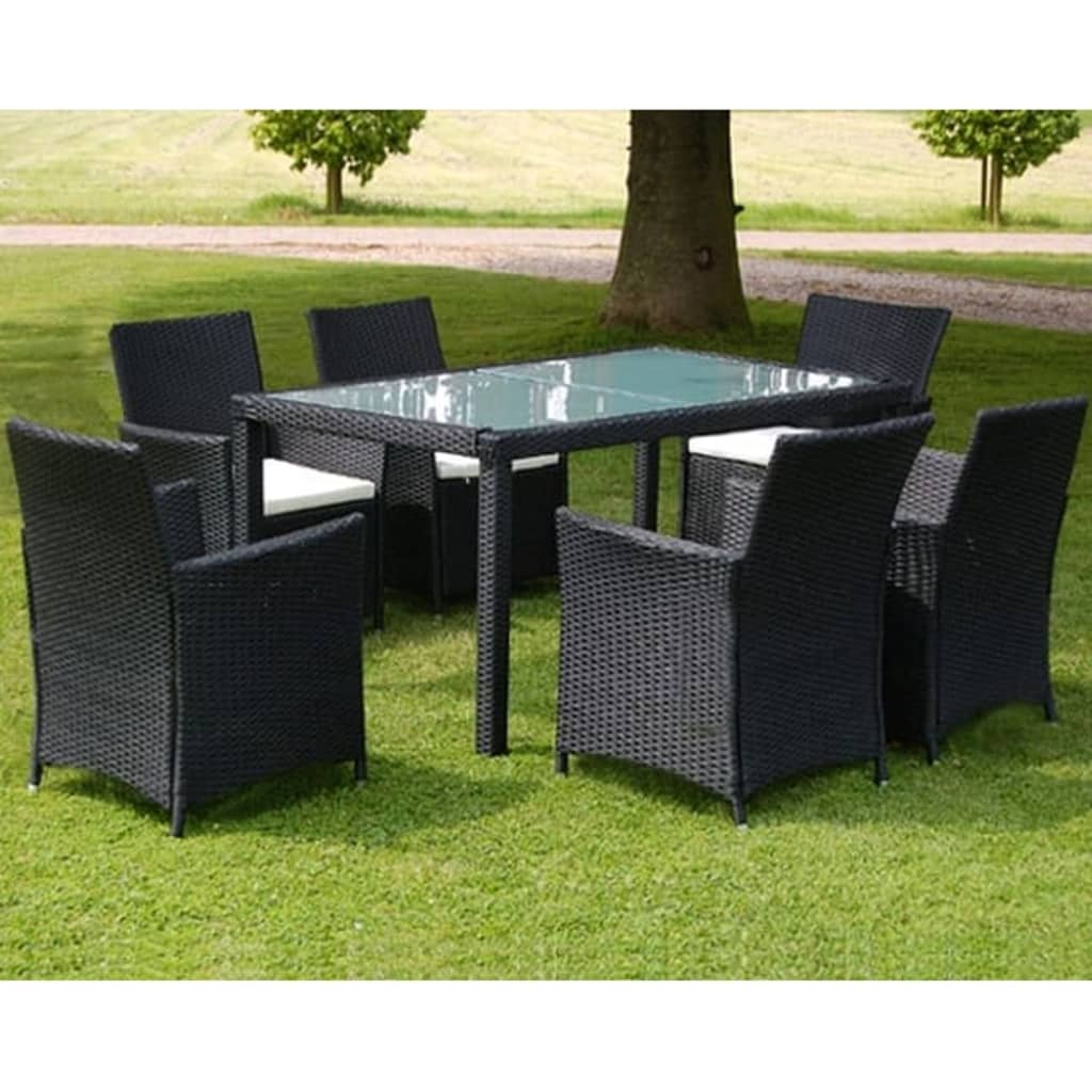acheter vidaxl meuble de jardin 1 table et 6 chaises r sine tress e noir pas cher. Black Bedroom Furniture Sets. Home Design Ideas