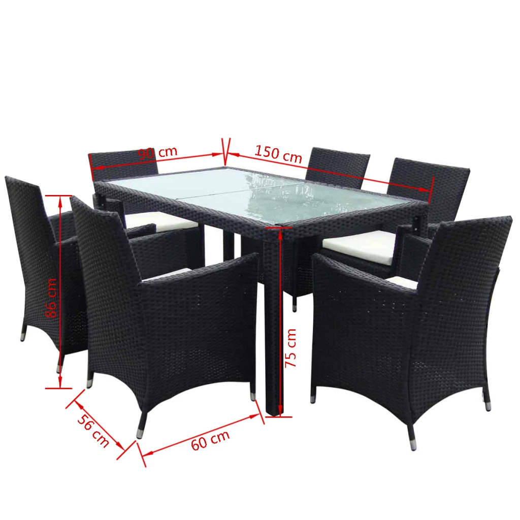Black 1 table 6 seat poly rattan garden furniture set for Table 6 seater