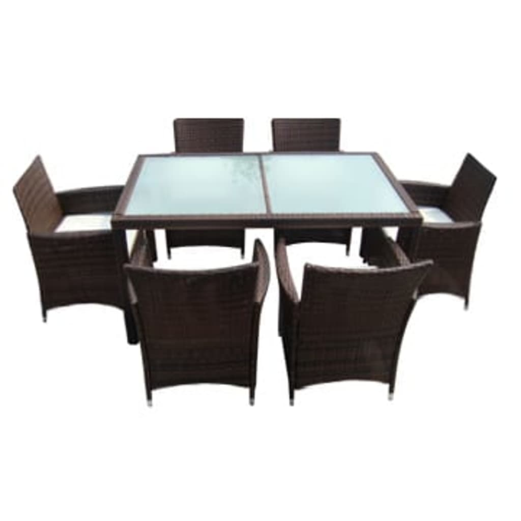 poly rattan garden furniture set brown 1 table 6 seats. Black Bedroom Furniture Sets. Home Design Ideas