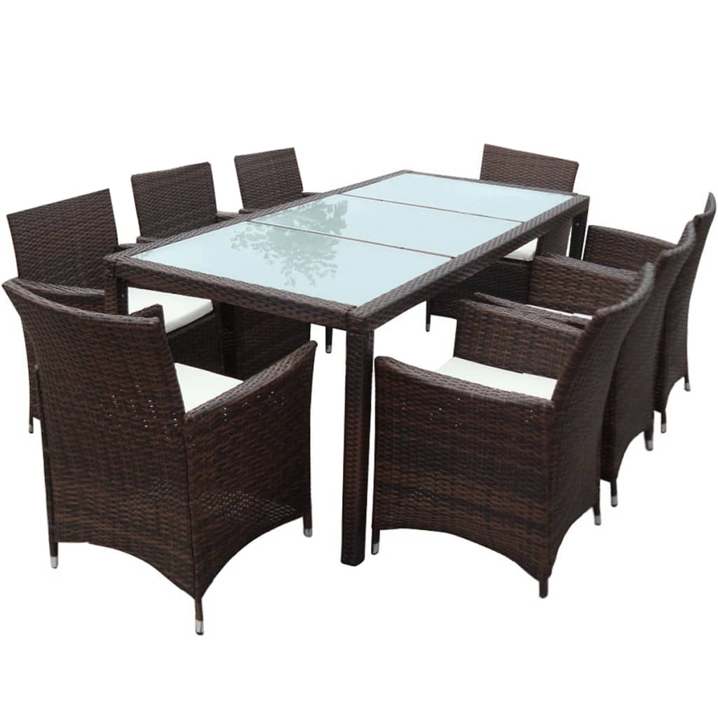 brown 1 table 8 seats poly rattan garden furniture set. Black Bedroom Furniture Sets. Home Design Ideas