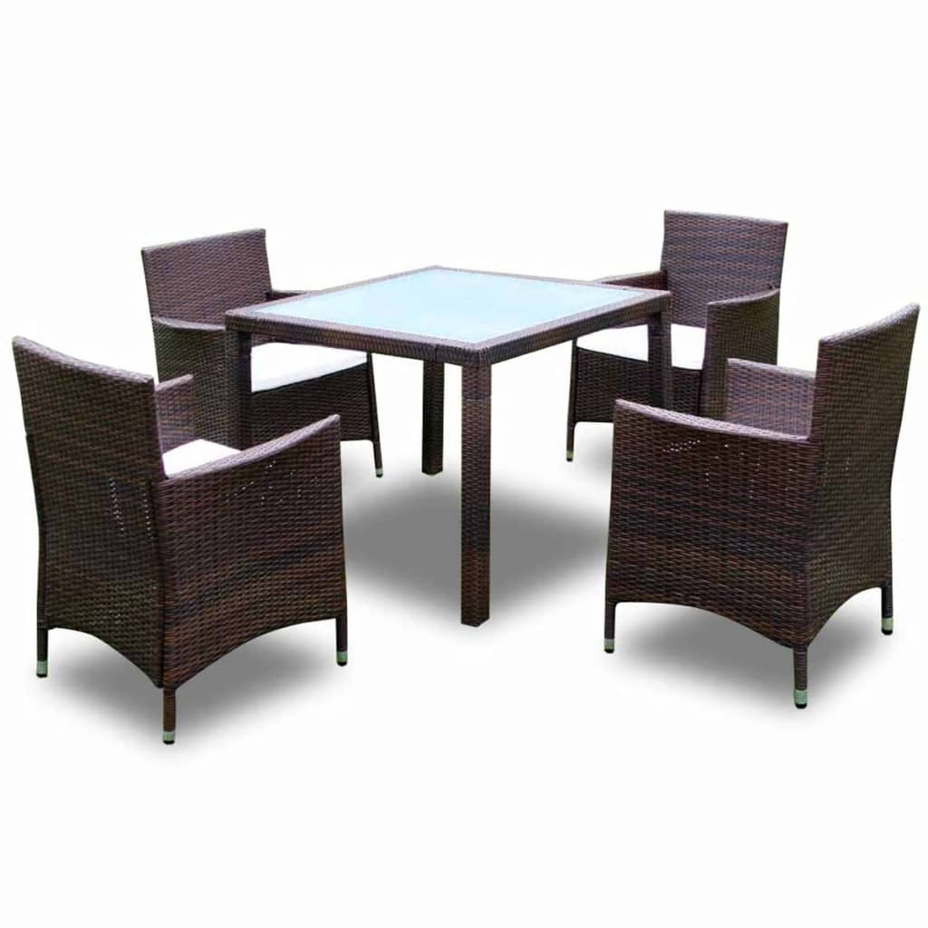 brown 1 table 4 seats poly rattan garden furniture set. Black Bedroom Furniture Sets. Home Design Ideas