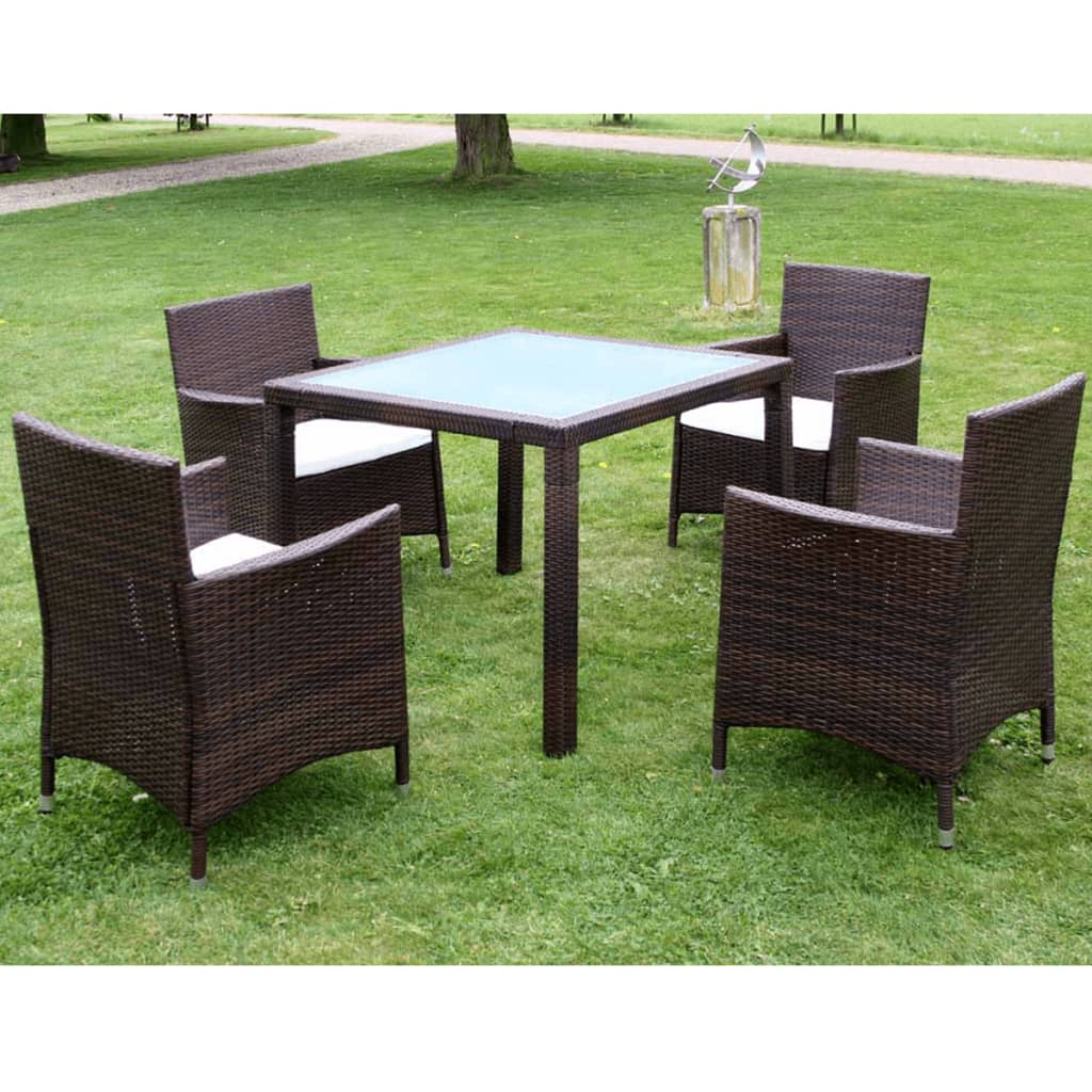 vidaxl meuble de jardin 1 table et 4 chaises r sine tress e marron. Black Bedroom Furniture Sets. Home Design Ideas