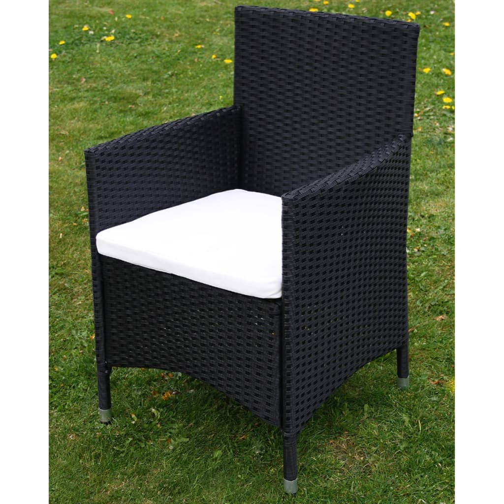 acheter vidaxl meuble de jardin 1 table et 4 chaises r sine tress e noir pas cher. Black Bedroom Furniture Sets. Home Design Ideas