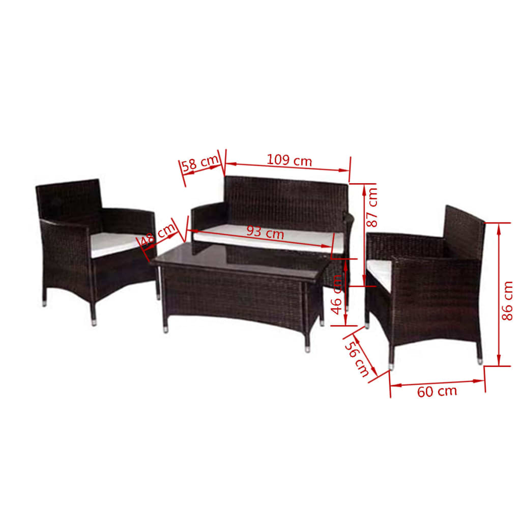 der poly rattan gartenm bel braun online shop. Black Bedroom Furniture Sets. Home Design Ideas