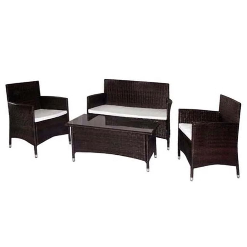 vidaxl gartenm bel set 7 tlg braun polyrattan g nstig. Black Bedroom Furniture Sets. Home Design Ideas
