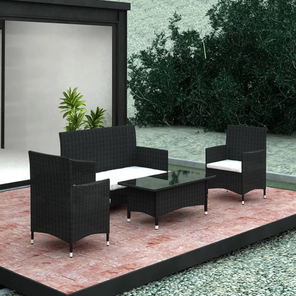vidaxl gartenm bel set 7 tlg schwarz polyrattan g nstig kaufen. Black Bedroom Furniture Sets. Home Design Ideas