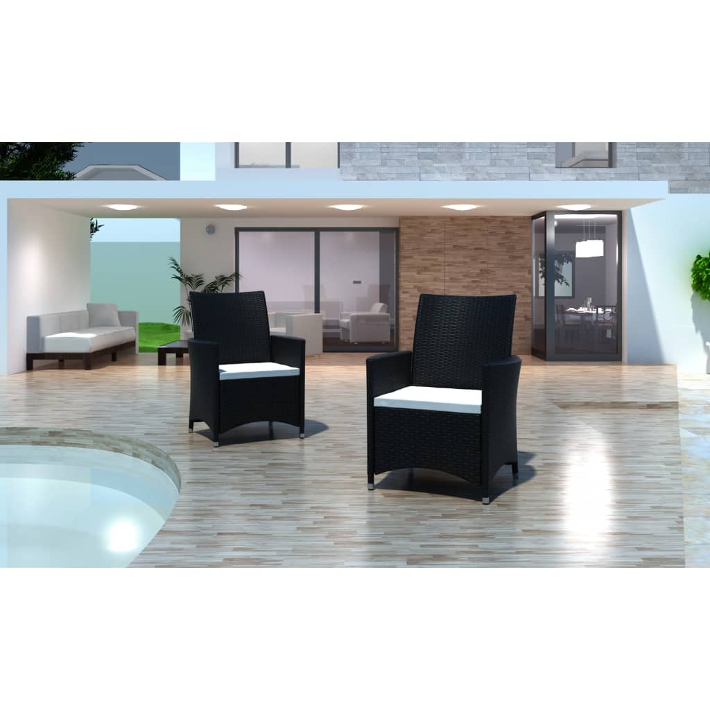 acheter lot de 2 fauteuils de jardin noirs en r sine. Black Bedroom Furniture Sets. Home Design Ideas