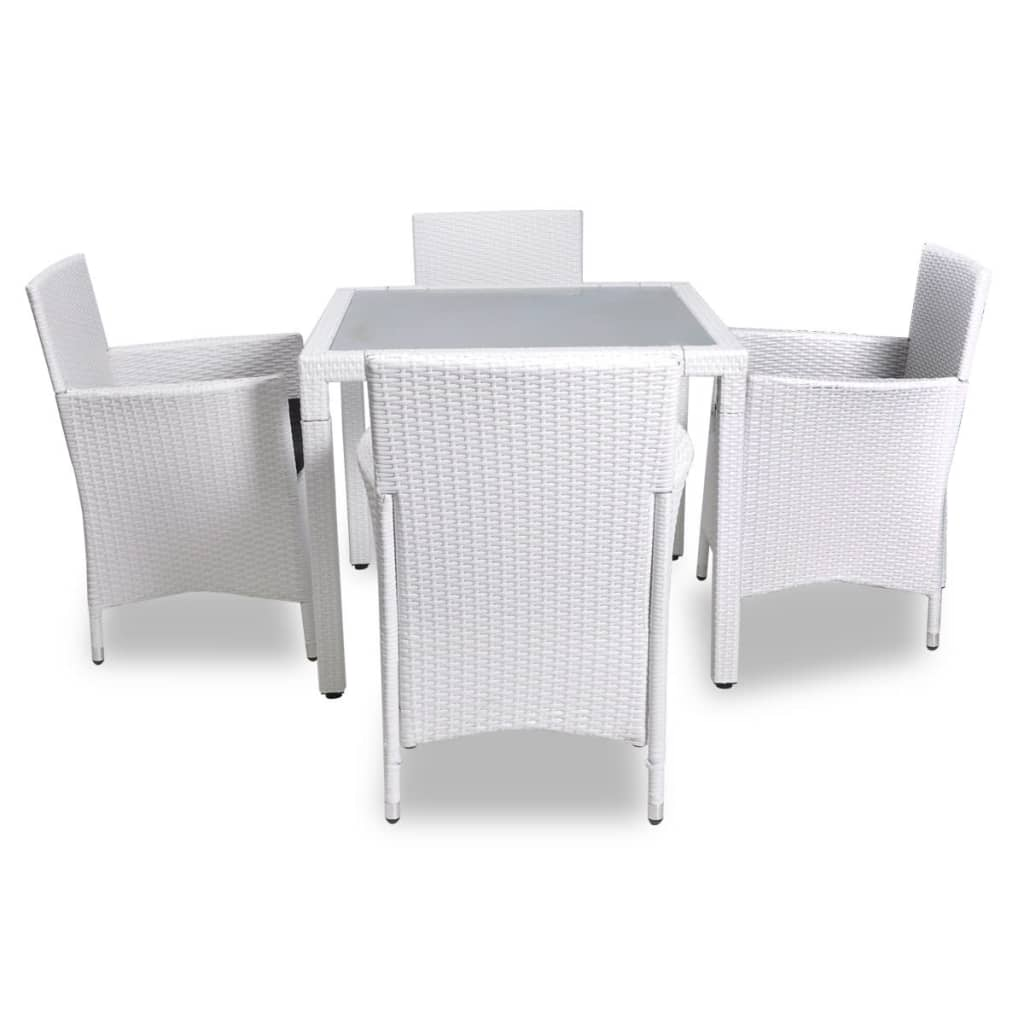 La boutique en ligne salon de jardin blanc en r sine tress e 4 chaises 1 table Salon de jardin table ronde verre