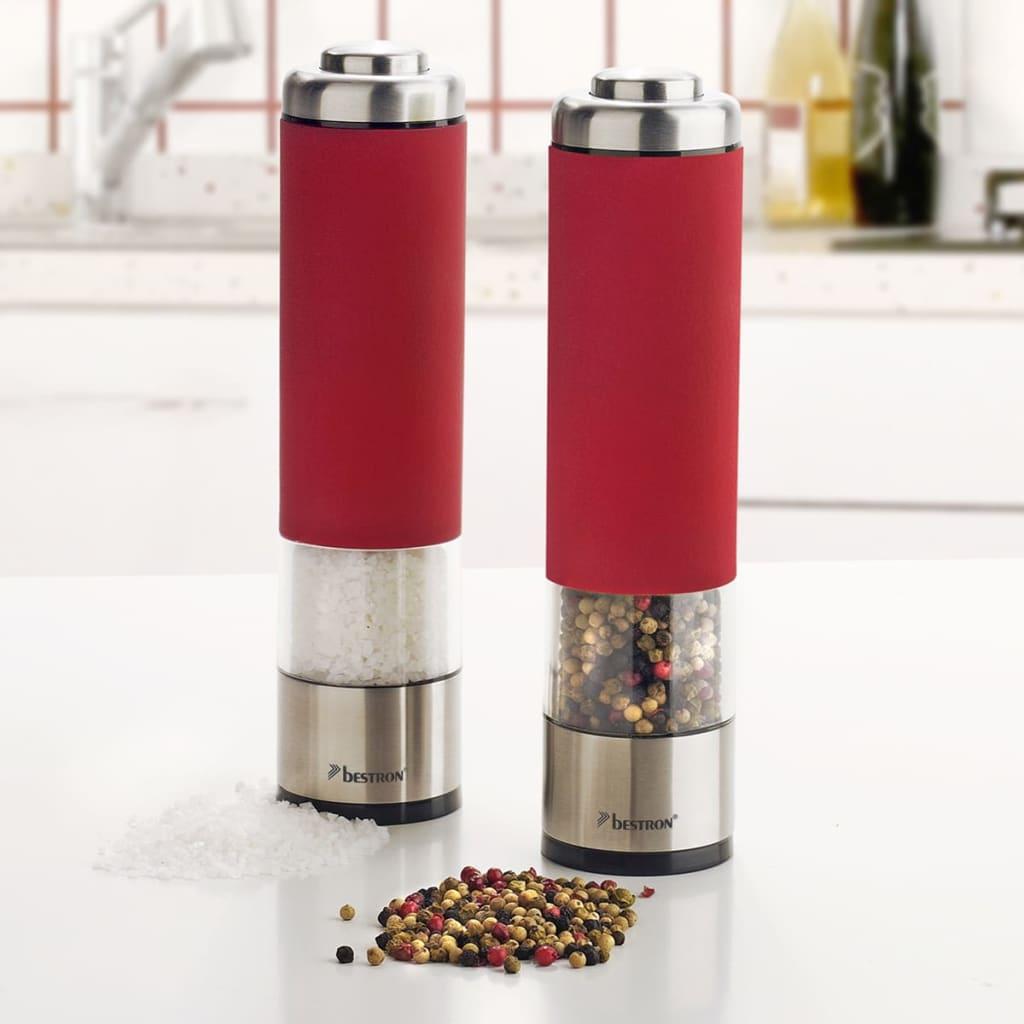 Bestron-Electric-Salt-and-Pepper-Spice-Herb-Mill-Grinder-Shaker-Set-Red-APS526R