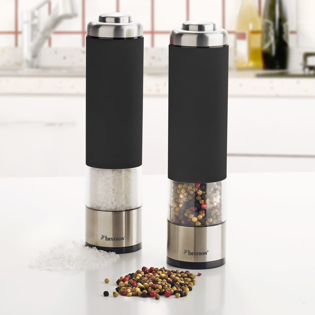 bestron electric salt and pepper mill set black aps526z. Black Bedroom Furniture Sets. Home Design Ideas