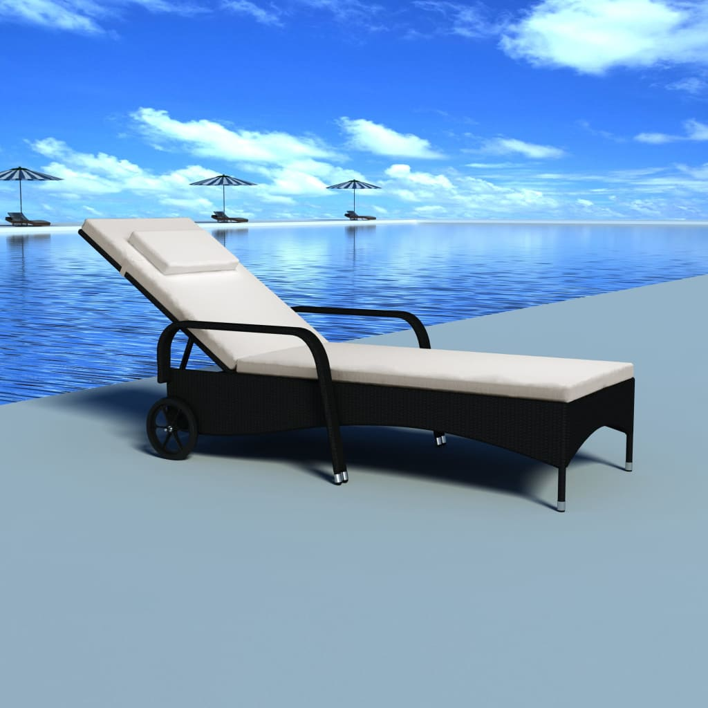 Patio outdoor sun lounger poly rattan bed chaise black for Black outdoor wicker chaise