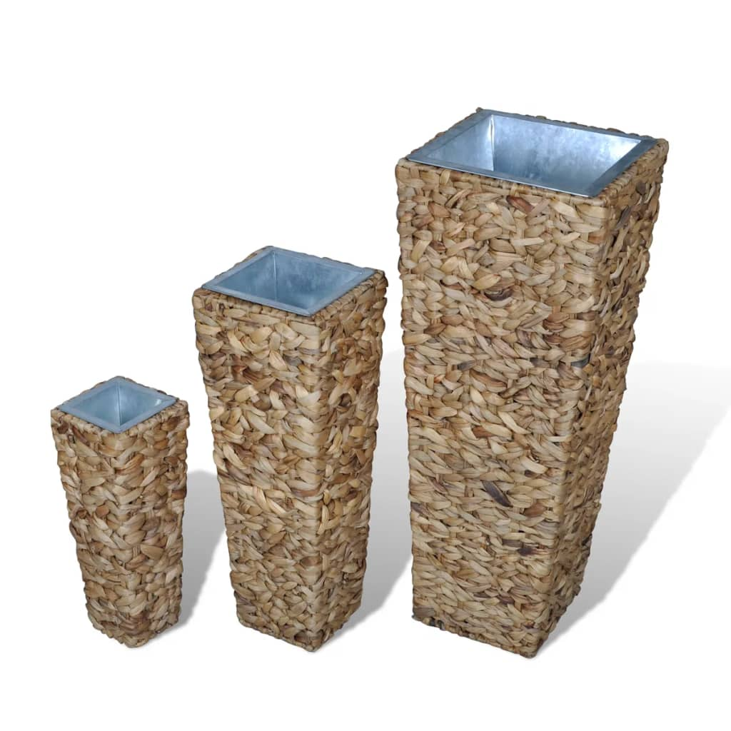 Water hyacinth planter set natural for Cache pots design interieur