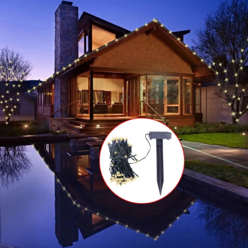 vidaXL LED Solar String Lights Warm White Christmas Decoration