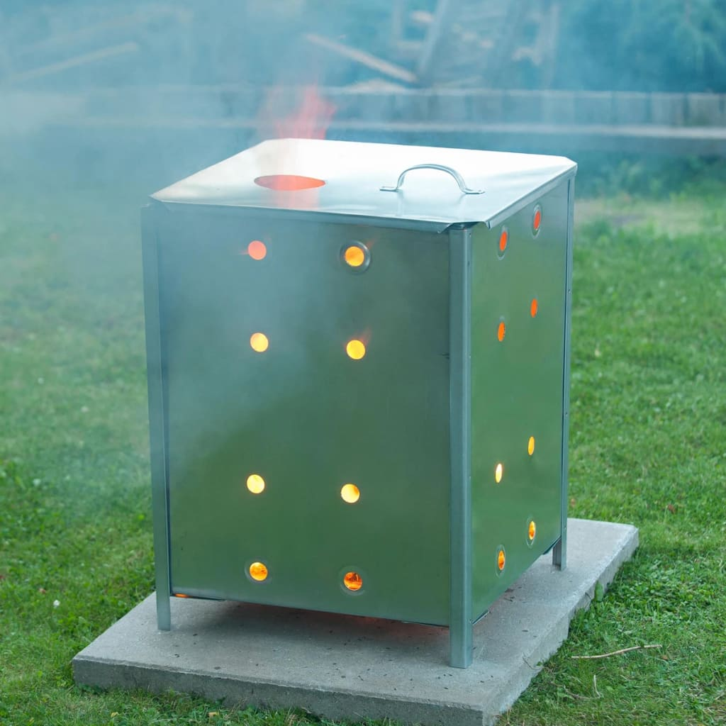 Acheter nature incin rateur de jardin acier galvanis 46 x46 x 65 cm 6070463 pas cher - Incinerateur de jardin ...
