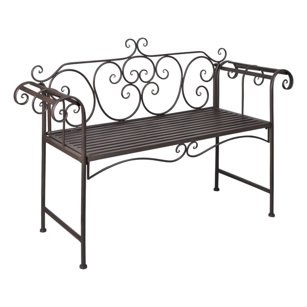 vidaxl metal bench brown scroll patterned backrest. Black Bedroom Furniture Sets. Home Design Ideas