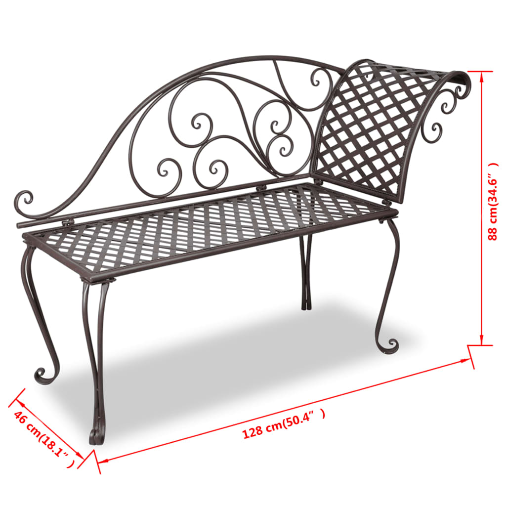 vidaxl metal garden chaise lounge antique brown scroll. Black Bedroom Furniture Sets. Home Design Ideas