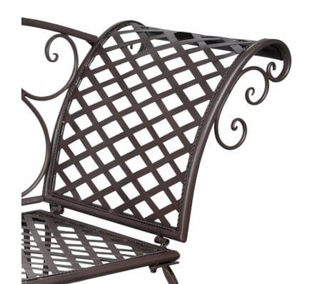 vidaXL Garten-Chaiselongue Schnörkelmuster Braun Metall[4/5]