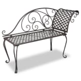 vidaXL Metal Garden Chaise Lounge Antique Brown Scroll-patterned