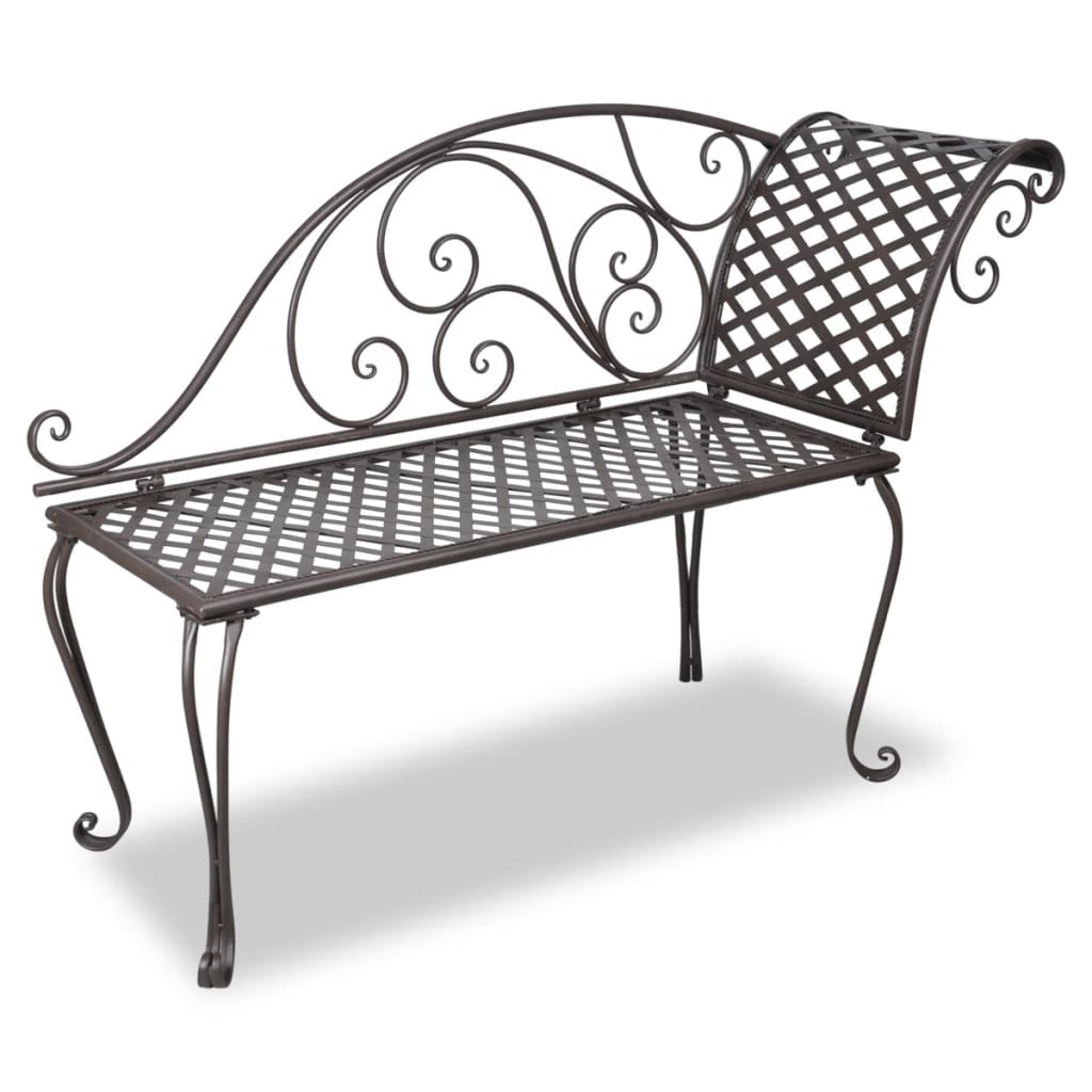 vidaxl metal garden chaise lounge antique brown scroll patterned. Black Bedroom Furniture Sets. Home Design Ideas
